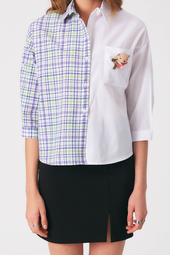 Robin Aksesuar Detaylı Kontrast Gömlek LİLA