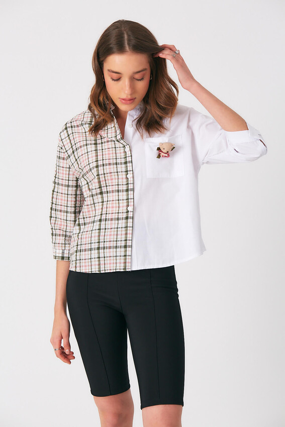 - Robin Aksesuar Detaylı Kontrast Gömlek YEŞİL