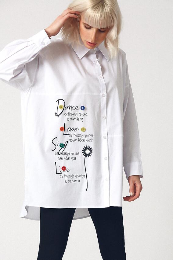 ROBİN - Robin Baskılı Oversize Gömlek BEYAZ