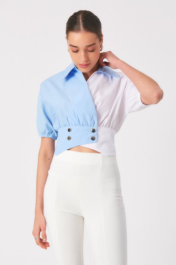- Robin Bel Detaylı Kontrast Gömlek MAVİ