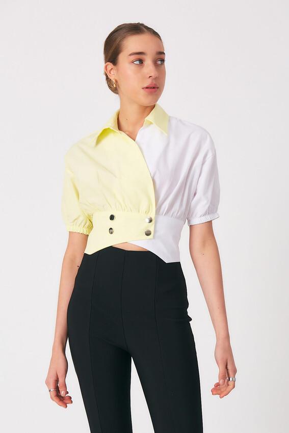 - Robin Bel Detaylı Kontrast Gömlek SARI
