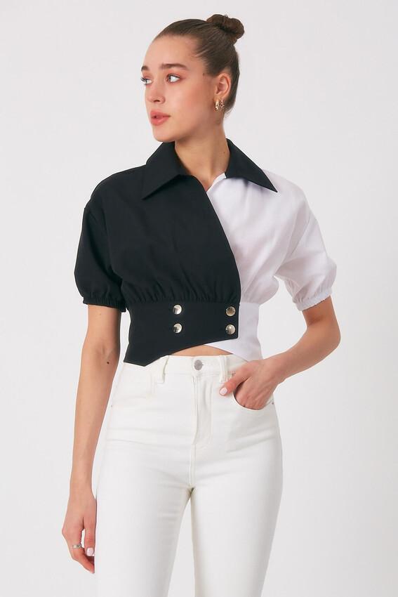 - Robin Bel Detaylı Kontrast Gömlek SİYAH