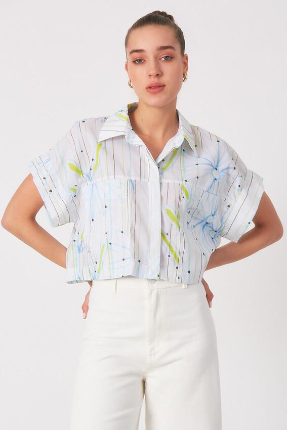 - Robin Cep Detaylı Çiçek Desenli Gömlek MAVİ