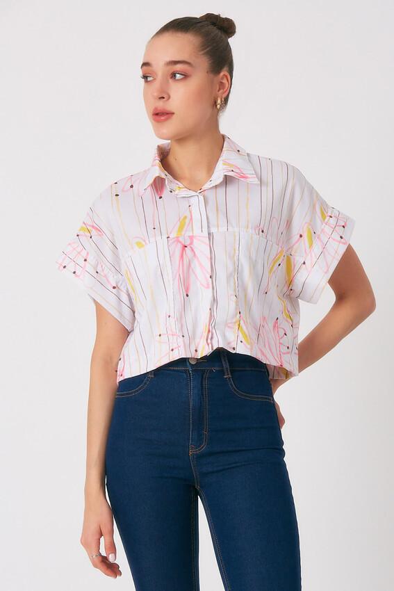 - Robin Cep Detaylı Çiçek Desenli Gömlek PEMBE