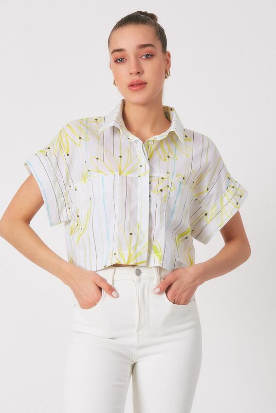 - Robin Cep Detaylı Çiçek Desenli Gömlek SARI