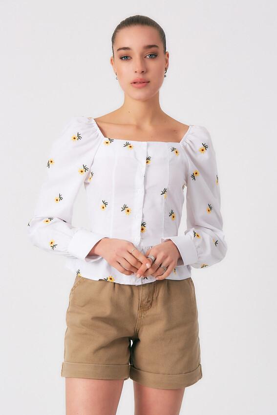 - Robin Çiçek Desenli Düğmeli Bluz BEYAZ