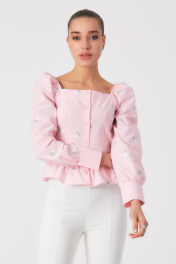 - Robin Çiçek Desenli Düğmeli Bluz PEMBE