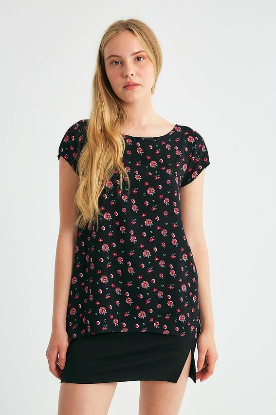 - Robin Çiçek Desenli Kolsuz Bluz SİYAH