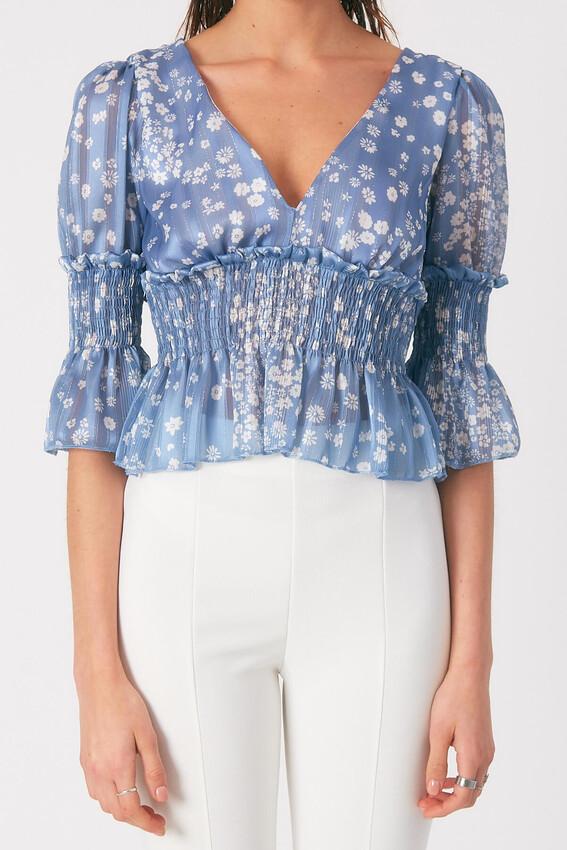 Robin Çiçek Desenli Tül Bluz MAVİ