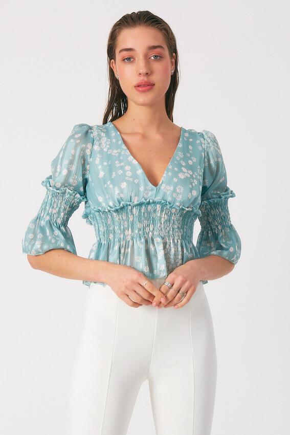 - Robin Çiçek Desenli Tül Bluz MİNT