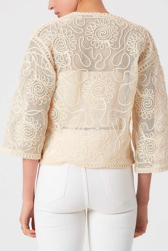 Robin Çiçek İşlemeli Bluz NATURAL
