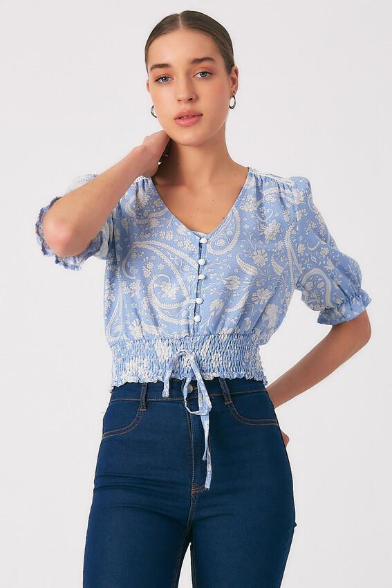 - Robin Düğme Detaylı Desenli Bluz MAVİ