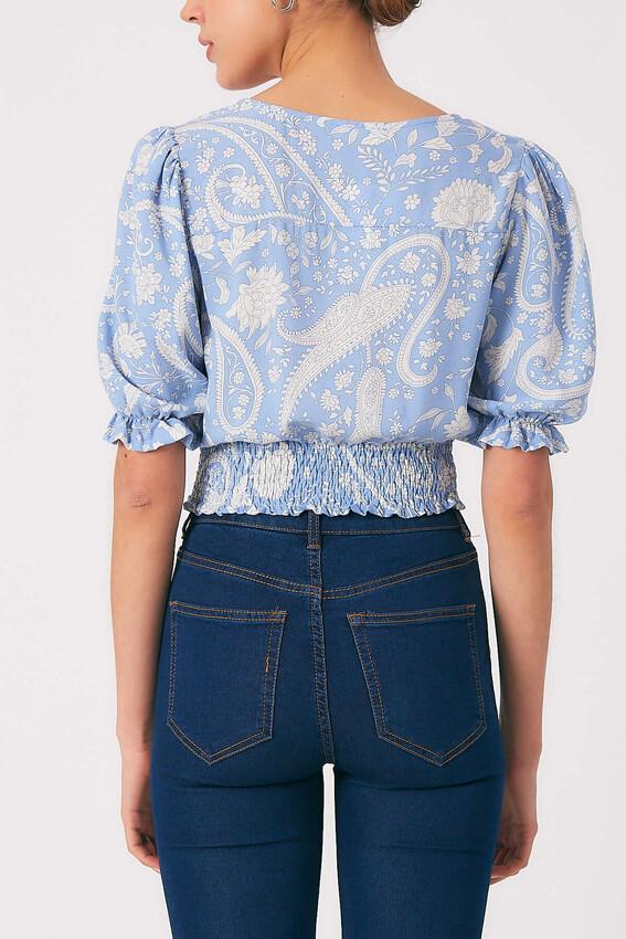 Robin Düğme Detaylı Desenli Bluz MAVİ