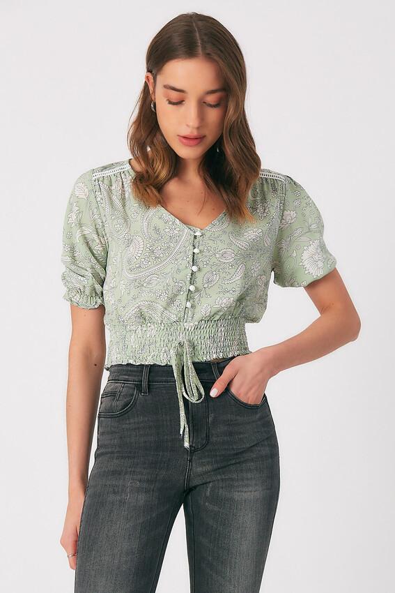 - Robin Düğme Detaylı Desenli Bluz MİNT