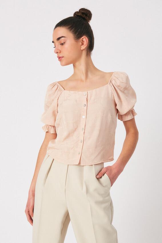 - Robin Düğme Detaylı Desenli Bluz PUDRA