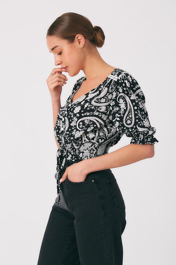 Robin Düğme Detaylı Desenli Bluz SİYAH