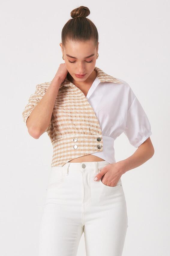 - Robin Düğme Detaylı Kontrast Gömlek CAMEL