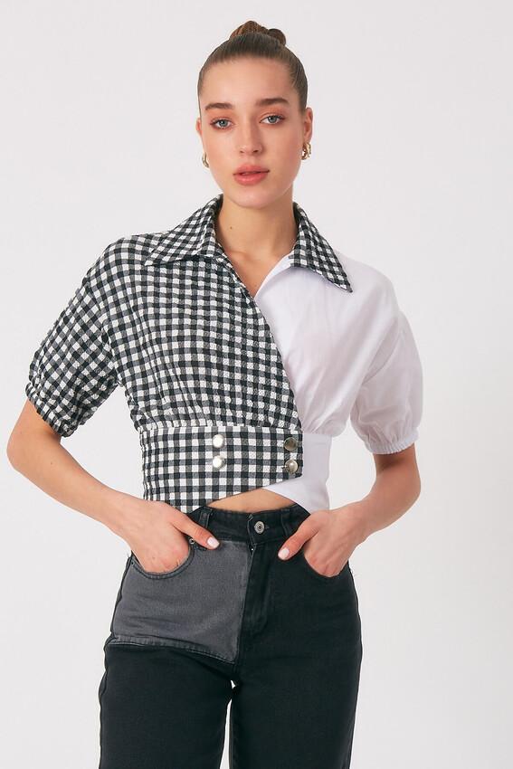 - Robin Düğme Detaylı Kontrast Gömlek SİYAH