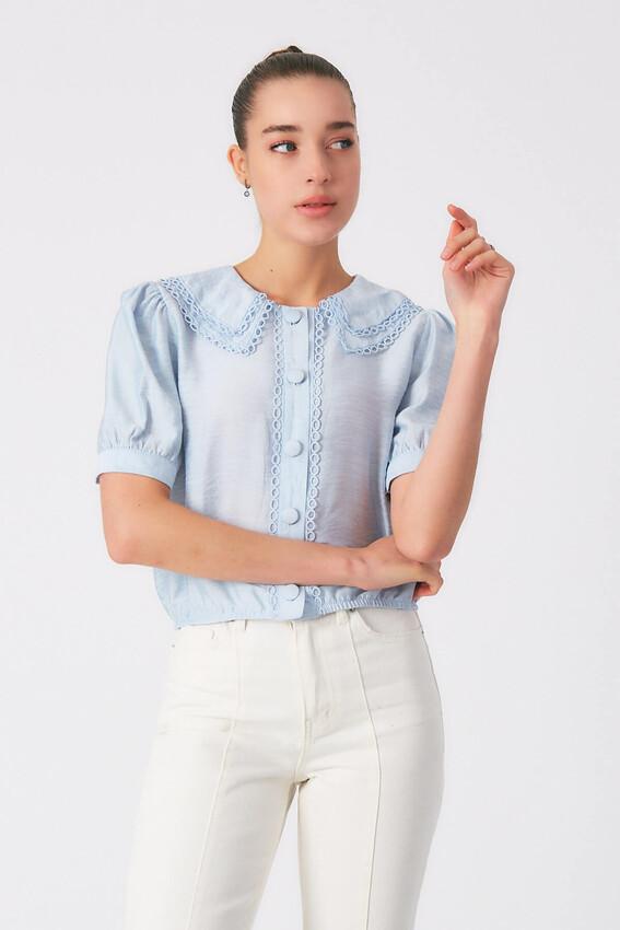 - Robin Düğme Detaylı Yakası İşlemeli Bluz MAVİ