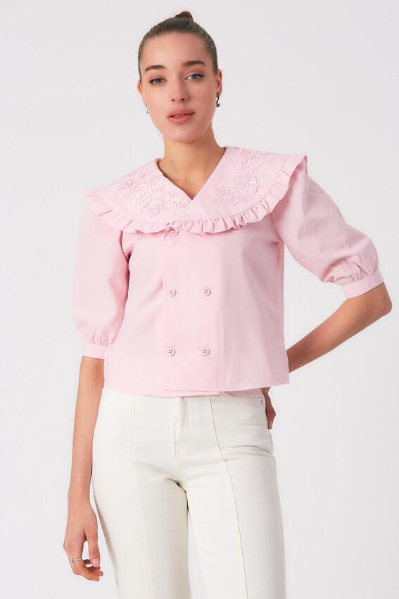 - Robin Düğme Detaylı Yakası İşlemeli Bluz PEMBE