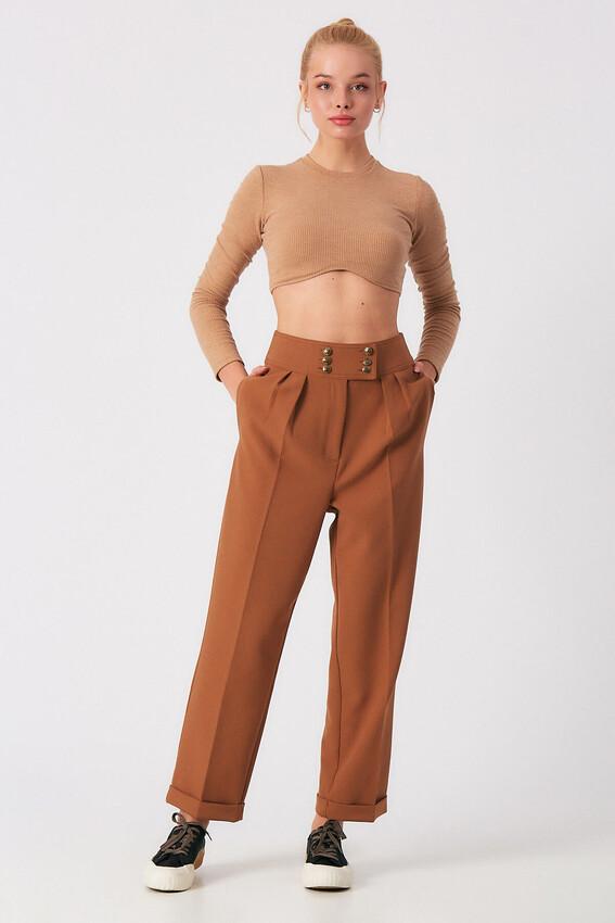 - Robin Düğme Detaylı Yüksek Bel Pantolon TABA