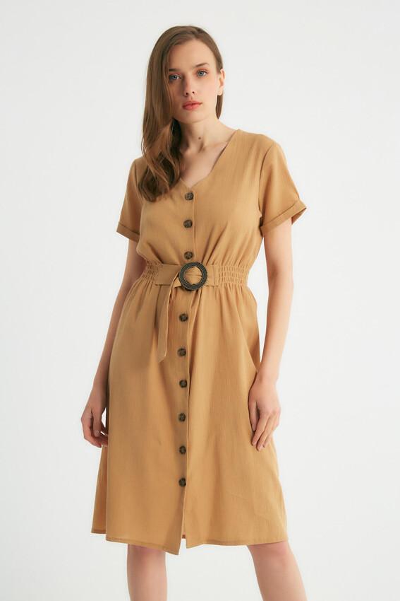 - Robin Düğmeli Kemer Detaylı Elbise CAMEL