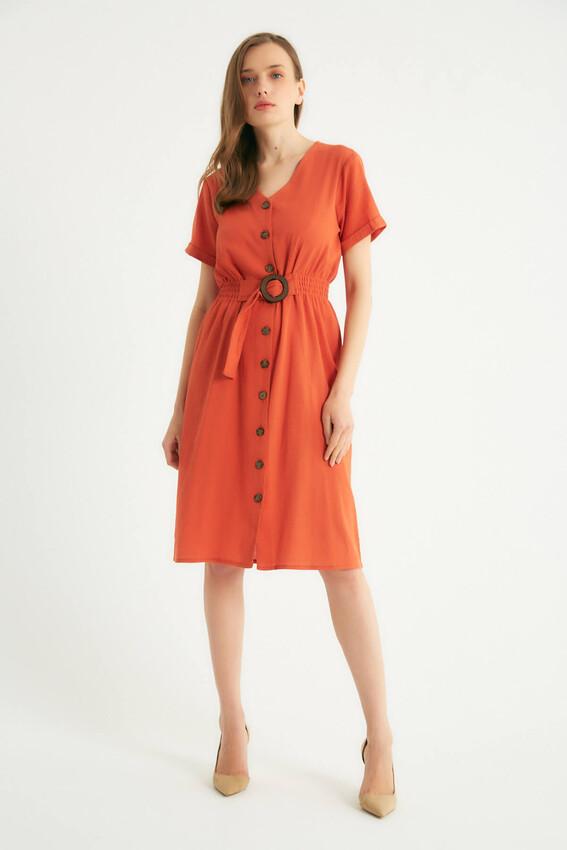 - Robin Düğmeli Kemer Detaylı Elbise KİREMİT