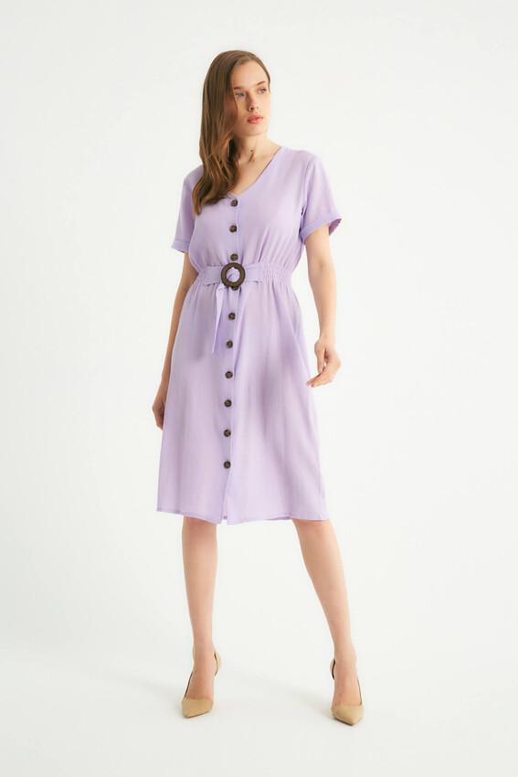 - Robin Düğmeli Kemer Detaylı Elbise LİLA