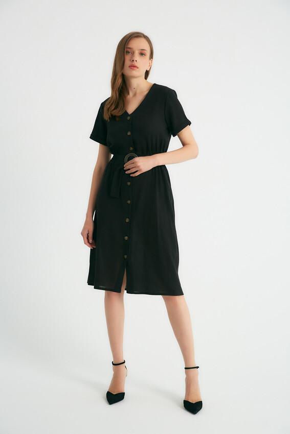 - Robin Düğmeli Kemer Detaylı Elbise SİYAH