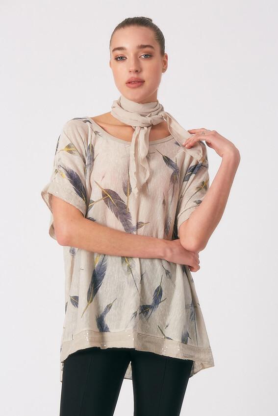 - Robin Fularlı Desenli Bluz BEJ