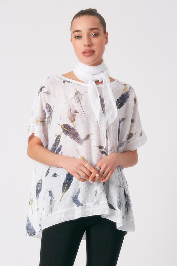 - Robin Fularlı Desenli Bluz EKRU