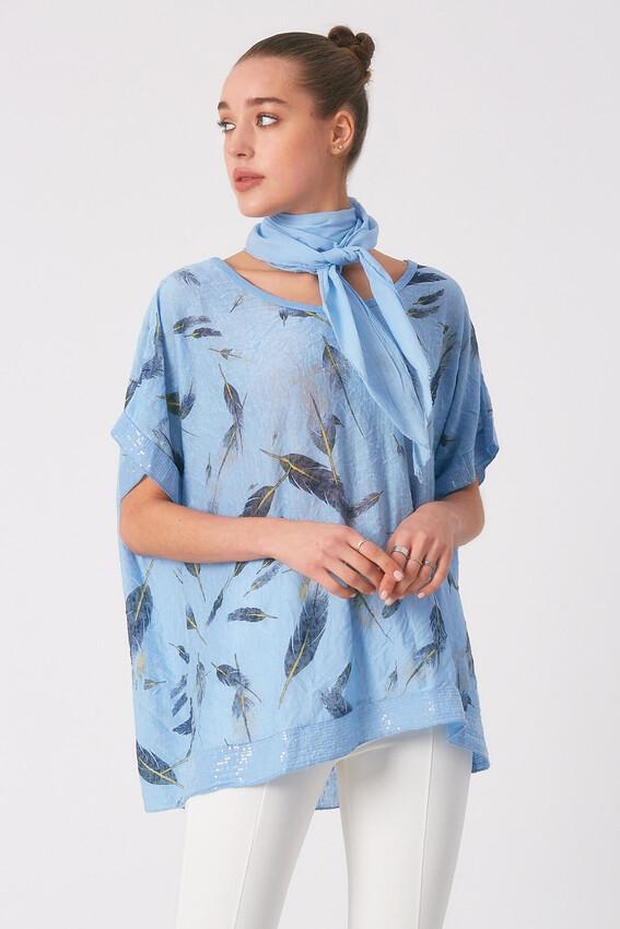- Robin Fularlı Desenli Bluz MAVİ