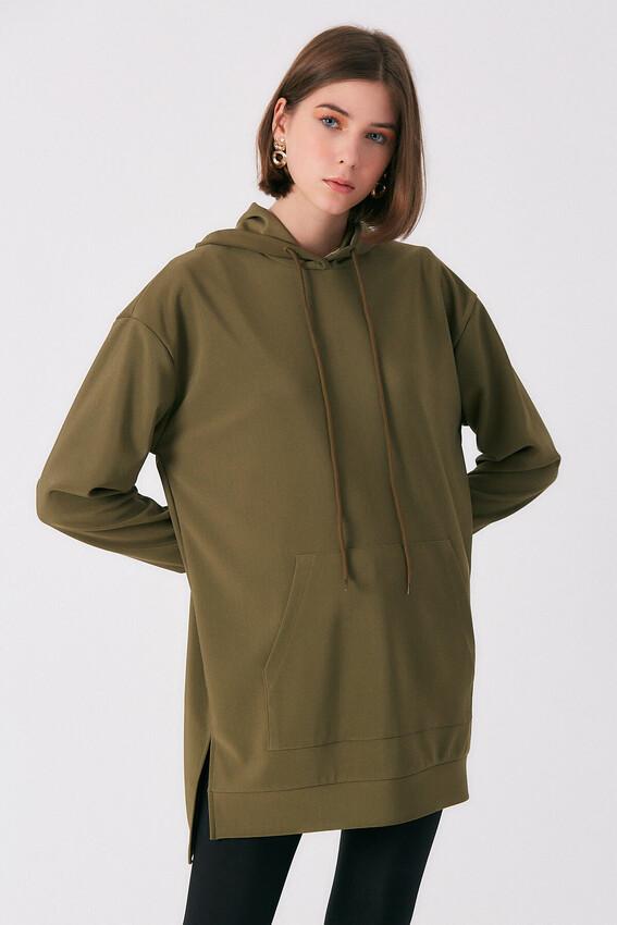 Robin - Robin Kapüşonlu Sweatshirt Tunik HAKİ