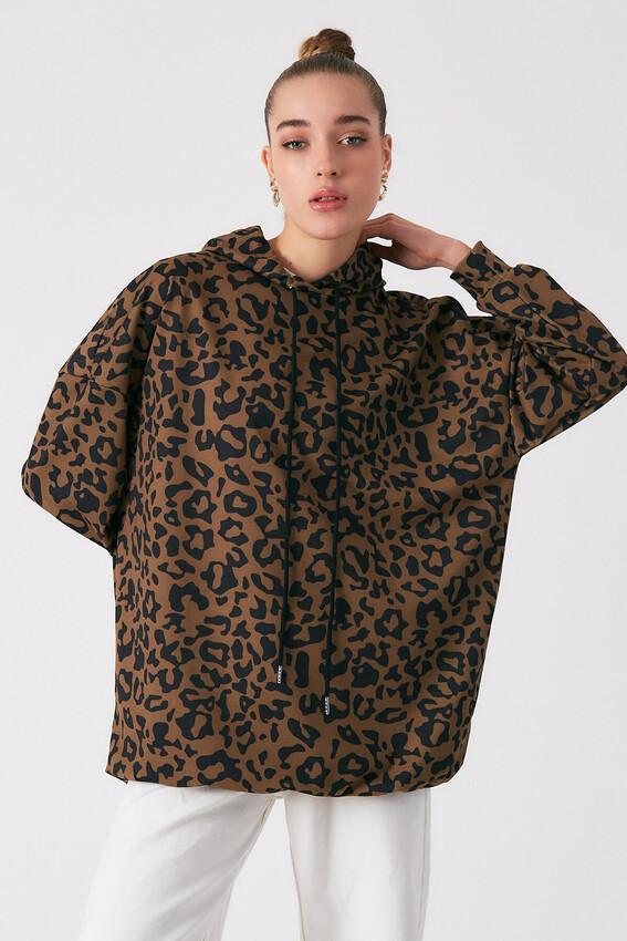 Robin - Robin Kapüşonlu Uzun Tunik Sweatshirt CAMEL