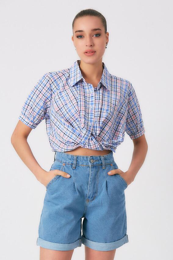 - Robin Kare Desenli Gömlek MAVİ