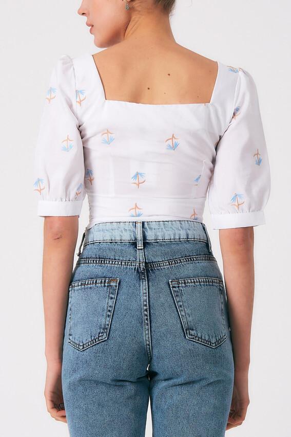 Robin Kare Yaka Desenli Bluz MAVİ