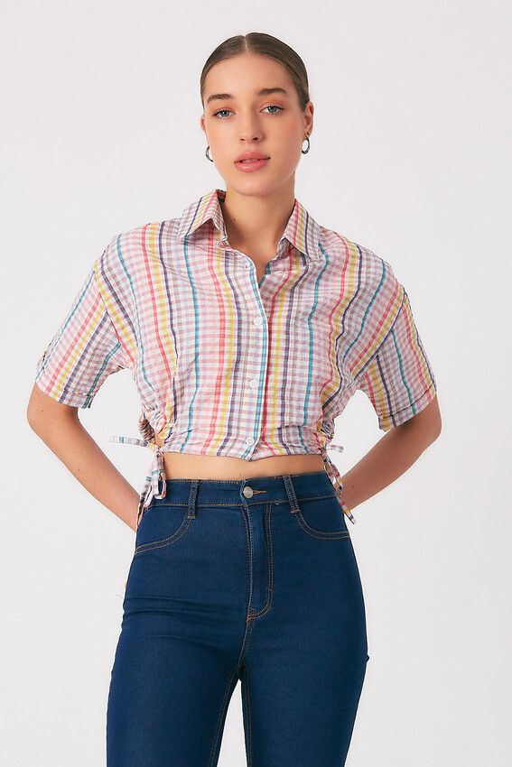 - Robin Kareli Mini Gömlek PEMBE