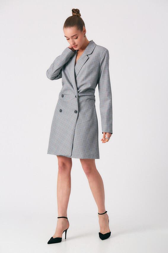 Robin - Robin Kareli Yanlardan Büzgülü Ceket Elbise MAVİ