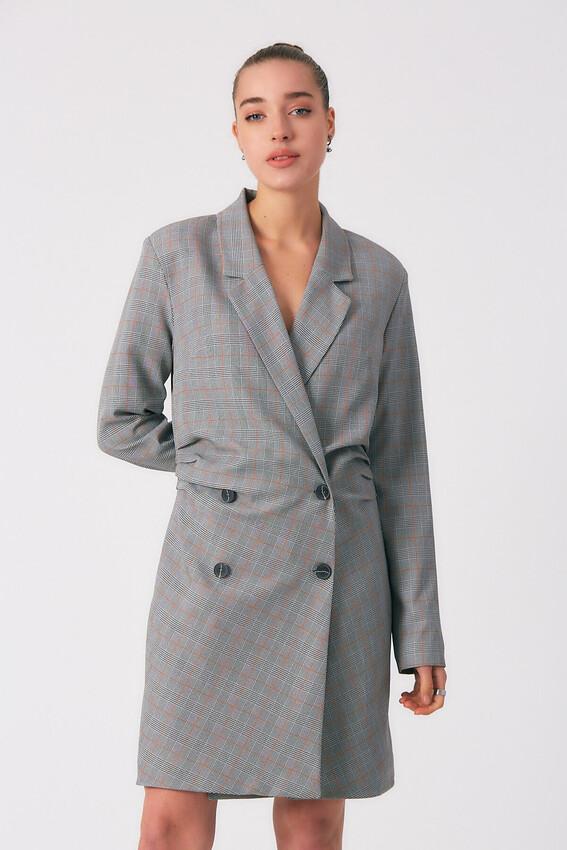 Robin - Robin Kareli Yanlardan Büzgülü Ceket Elbise TABA