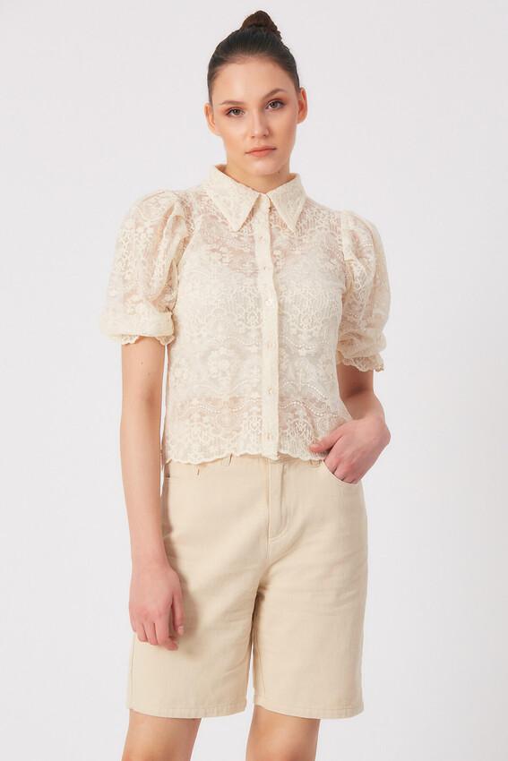 - Robin Karpuz Kol Çiçek İşlemeli Bluz NATURAL