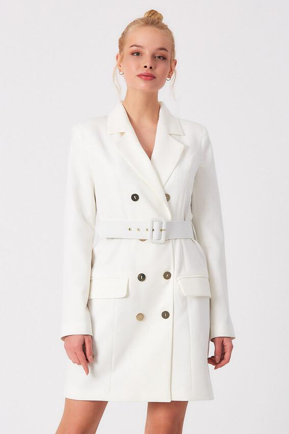 ROBİN - Robin Kemer Detaylı Cepli Ceket Elbise EKRU
