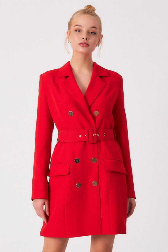 ROBİN - Robin Kemer Detaylı Cepli Ceket Elbise KIRMIZI