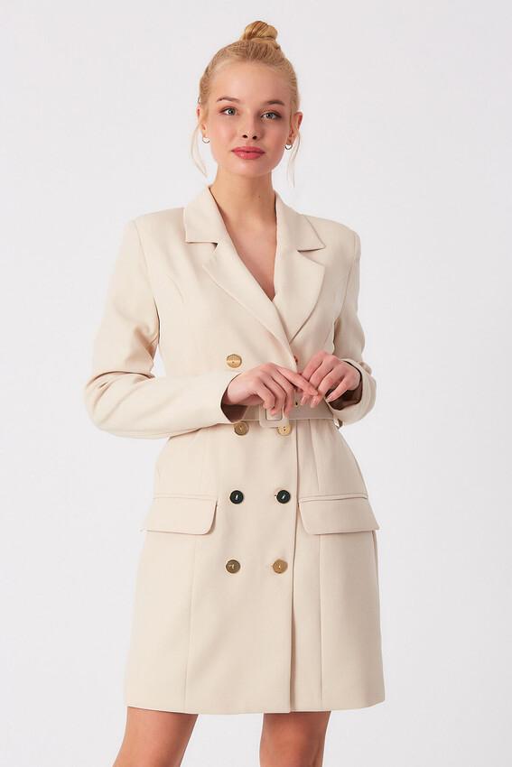ROBİN - Robin Kemer Detaylı Cepli Ceket Elbise TAŞ