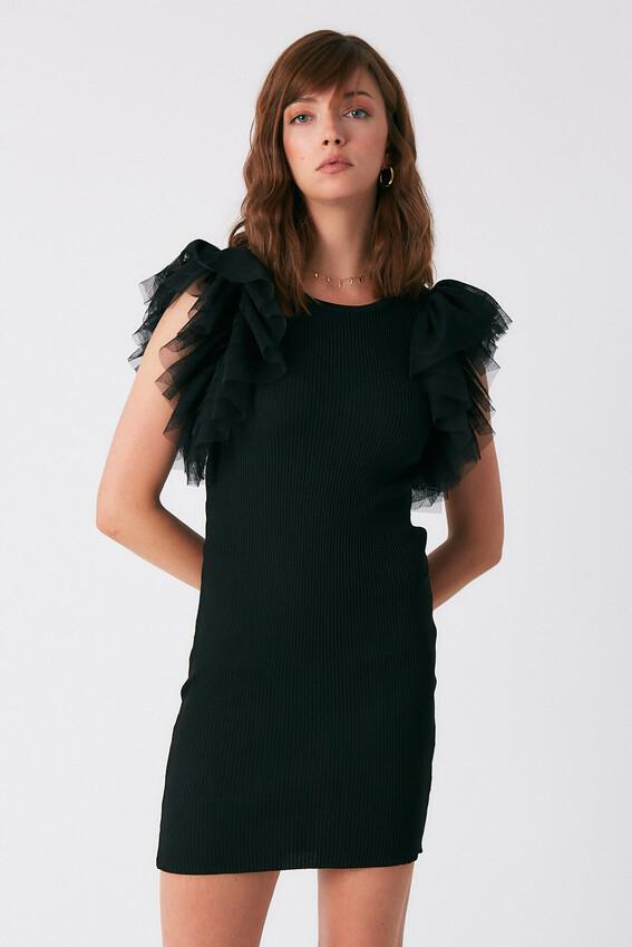 - Robin Kolları Tül Fırfırlı Triko Elbise SİYAH