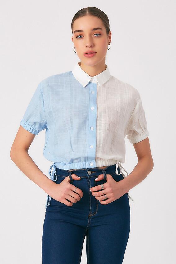 - Robin Kontrast Bel Kısmı Ayarlanabilir Gömlek MAVİ