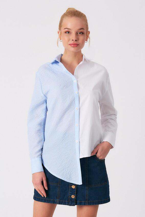 ROBİN - Robin Kontrast Kareli Gömlek MAVİ