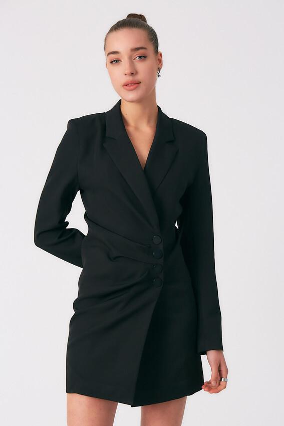 Robin - Robin Kruvaze Düğmeli Ceket Elbise SİYAH