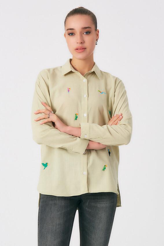 - Robin Kuş İşlemeli Gömlek NEFTİ