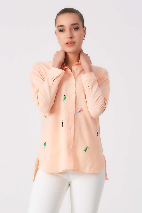 - Robin Kuş İşlemeli Gömlek SOMON