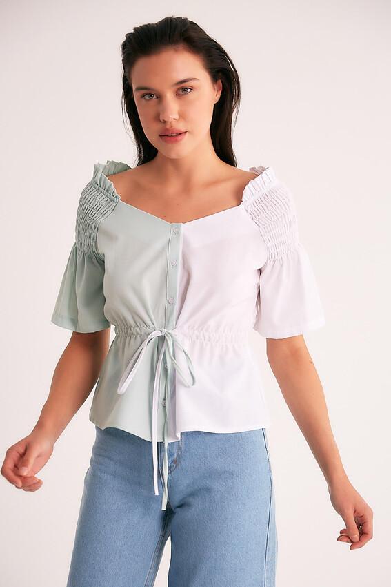 - Robin Omuz Detaylı Kontrast Bluz MAVİ